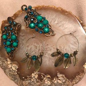Free People boho hair alligator clips earrings